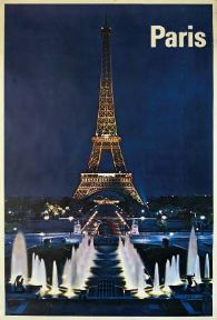 French Travel Art poster, Eiffel Tower in Paris, France